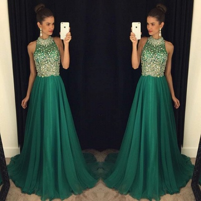 Gorgeous Crystals Halter Sleeveless 2020 Prom Dress A-line Sweep Train AP0_1