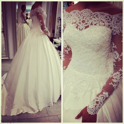 Glamorous Off-the-shoulder Long Sleeve Wedding Dress With Beadings Appliques_1