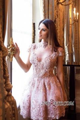 Occasion Lace Elegant Short Special Pink Long-Sleeve High-Neck Homecoming Dresses BA7055_6
