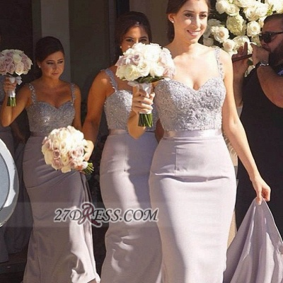 Modern Sweetheart Sleeveless Chiffon Bridesmaid Dress With Lace Appliques_1