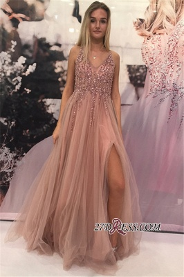 Sleeveless A-line V-neck Evening Gowns | 2020 Tulle Prom Dress With Slit_2