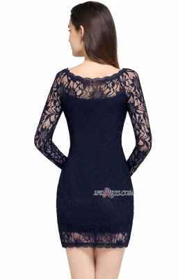 Sheath Long-Sleeves Lace Navy-Blue Cheap Cocktail Dress_4