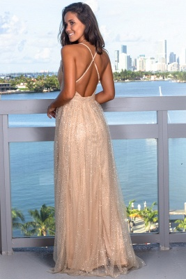 Glamorous V-Neck Sleeveless Evening Gowns | Criss Cross Strings Long Prom Dress With Crystals_6