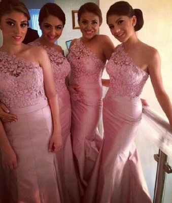 Modern One-shoulder Mermaid Bridesmaid Dress Floor-length With Lace_1