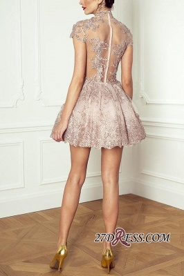Occasion Lace Elegant Short Special Pink Long-Sleeve High-Neck Homecoming Dresses BA7055_3