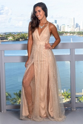 Glamorous V-Neck Sleeveless Evening Gowns | Criss Cross Strings Long Prom Dress With Crystals_5