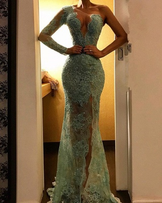 Beautiful One Shoulder Mermaid Evening Dress   Lace Long Prom Party Dress BC2278_1