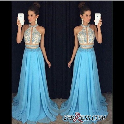 2020 Chiffon Sleeveless Lace-Appliques Halter Newest A-line Sweep-Train Prom Dress_1