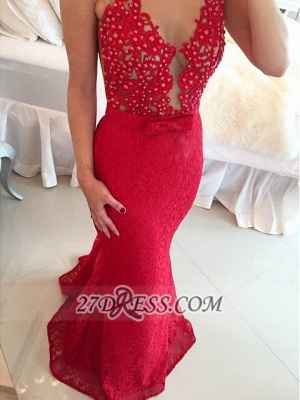 Sexy Sweetheart Beadings Lace Prom Dresses Sleeveless Mermaid Eveing Gowns_2