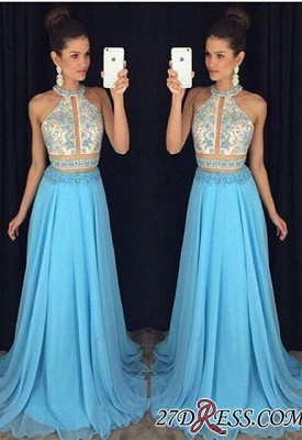 2020 Chiffon Sleeveless Lace-Appliques Halter Newest A-line Sweep-Train Prom Dress_3