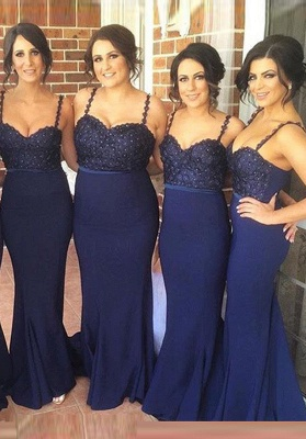 Gorgeous Navy Spaghetti Strap 2020 Bridesmaid Dress Lace Beadings Long Wedding Party Dress_1