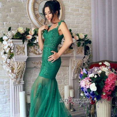 Sheer-Skirt Appliques Green Gorgeous Off-the-Shoulder Mermaid Prom Dress PT0350_3