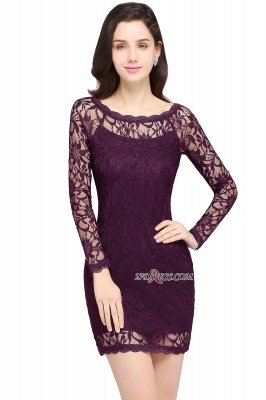 Sheath Long-Sleeves Lace Navy-Blue Cheap Cocktail Dress_3