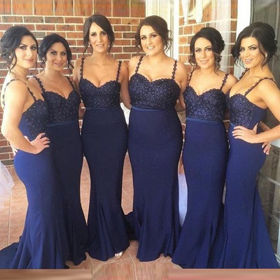 Gorgeous Navy Spaghetti Strap 2020 Bridesmaid Dress Lace Beadings Long Wedding Party Dress_4