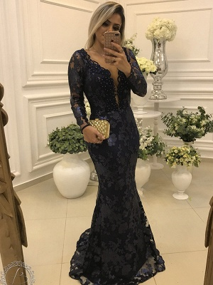 Elegant Long Sleeve Lace 2020 Evening Dress Mermaid Beadings On Sale BA7446_1