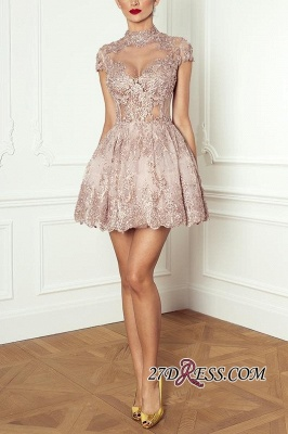 Occasion Lace Elegant Short Special Pink Long-Sleeve High-Neck Homecoming Dresses BA7055_5