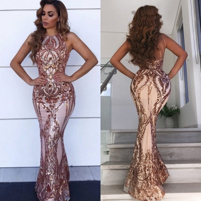 Glamorous Halter Sleeve Sequins Prom Dresses   2020 Mermaid Long Evening Gowns BC0506_3