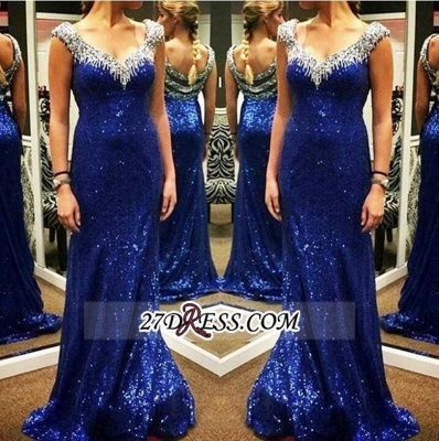 Arrival Sparkly Sheath V-neck Cheap Sequins Blue New Evening Dresses_1