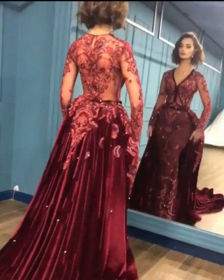 Gorgeous Long Sleeve Burgundy Prom Dresses | 2020 Overskirt Lace Appliques Evening Gown BC0731_3