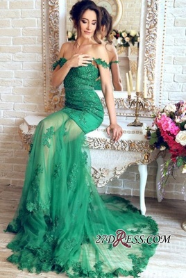Sheer-Skirt Appliques Green Gorgeous Off-the-Shoulder Mermaid Prom Dress PT0350_4