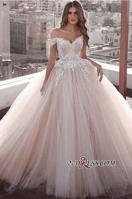 Beading Sweetheart Ball-gown Applique Off-the-shoulder Wedding Dress_1