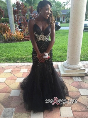 2020 Mermaid Tulle Spaghetti-Straps Crystal Appliques Black prom dress BK0_3