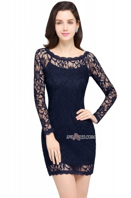Sheath Long-Sleeves Lace Navy-Blue Cheap Cocktail Dress_5