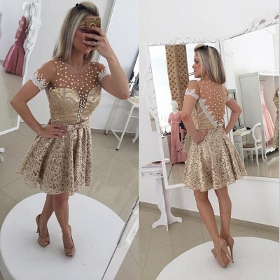 Glamorous Pearls Lace 2020 Cocktail Dress Illusion Short Sleeve BT0_2