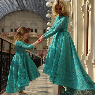 Modern Jewel Long Sleeve Hi-Lo Mother And Daughter Dress Lace Zipper_2