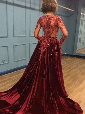 Gorgeous Long Sleeve Burgundy Prom Dresses | 2020 Overskirt Lace Appliques Evening Gown BC0731_5
