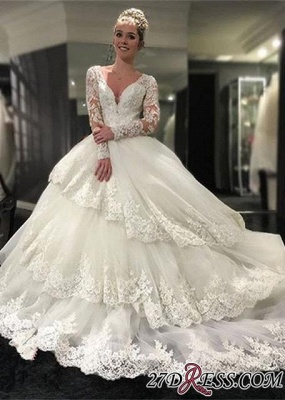 2020 Lace-Appliques Long-Sleeve Three-Layers Delicate Ball-Gown Wedding Dress_3