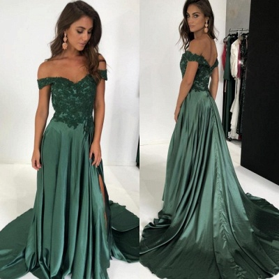 Gorgeous Off-the-Shoulder Mermaid Prom Dresses | 2020 Long Evening Gown With Slit_3