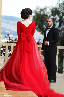 Newest Long Sleeve Tulle Red Wedding Dress Bowknot Long Train_2