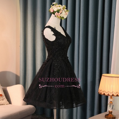 Black A-Line Short Prom Dress | 2020 Homecoming Dress With Lace Appliques BC0800_1