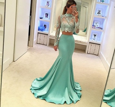 Stunning Long Sleeve Two Pieces Prom Dress 2020 Lace Mermaid BA3838_3