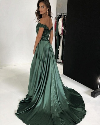 Gorgeous Off-the-Shoulder Mermaid Prom Dresses | 2020 Long Evening Gown With Slit_2