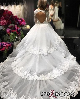 2020 Lace-Appliques Long-Sleeve Three-Layers Delicate Ball-Gown Wedding Dress_2