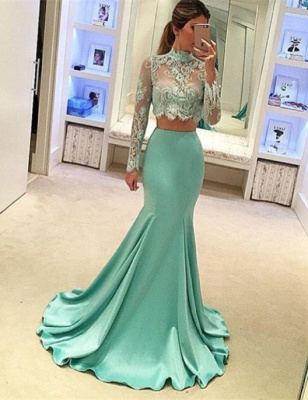 Stunning Long Sleeve Two Pieces Prom Dress 2020 Lace Mermaid BA3838_1