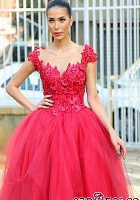 Flowers Cap-Sleeves Tired Pearls High-Low Ball-Gown Evening Dress_2