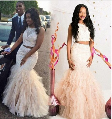 Gorgeous Two Pieces Mermaid Prom Dresses 2020 Appliques Beaidngs Tulle_3