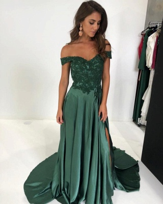 Gorgeous Off-the-Shoulder Mermaid Prom Dresses | 2020 Long Evening Gown With Slit_1