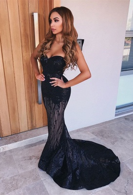 Sexy Black Sweetheart Prom Dresses | 2020 Mermaid Sequins Evening Gowns_1