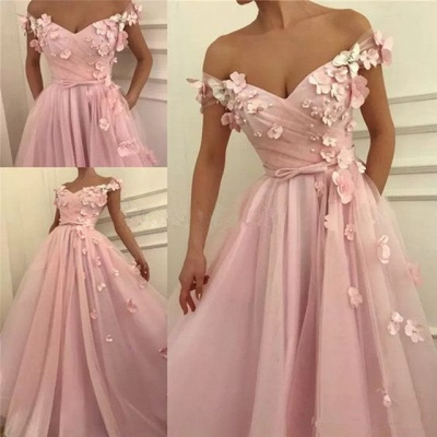 Elegant Off-the-Shoulder Pink Prom Dress | 2020 Long Flowers Tulle Evening Gowns TMD BC0908_2