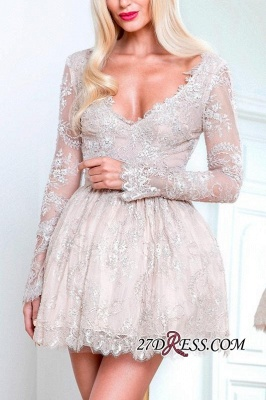 Short Champagne Long-Sleeve Lace Homecoming Dresses_2