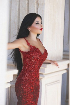 Glamorous Red Mermaid Sequins Prom Dress 2020 Appliques Sweep Train BM0645_3