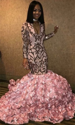 Gorgeous Long Sleeve V-Neck Prom Dresses | 2020 Mermaid Sequins Bottom Flowers Evening Gowns bk0_1