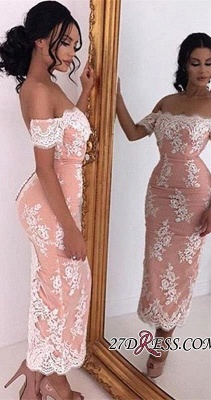 2020 Sexy Tea-Length Bodycon Lace Off-the-shoulder Prom Dress_2