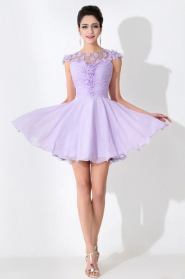 Lovely Illusion Cap Sleeve Chiffon Homecoming Dress With Flowers Beadings_1