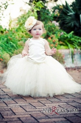 Sleeveless Scoop Tull Flower-Girl-Dresses Ball-Gown Pearls Pageant-Dress