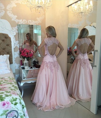 Delicate Pink Lace Appliques Prom Dress 2020 Sweep Train_2